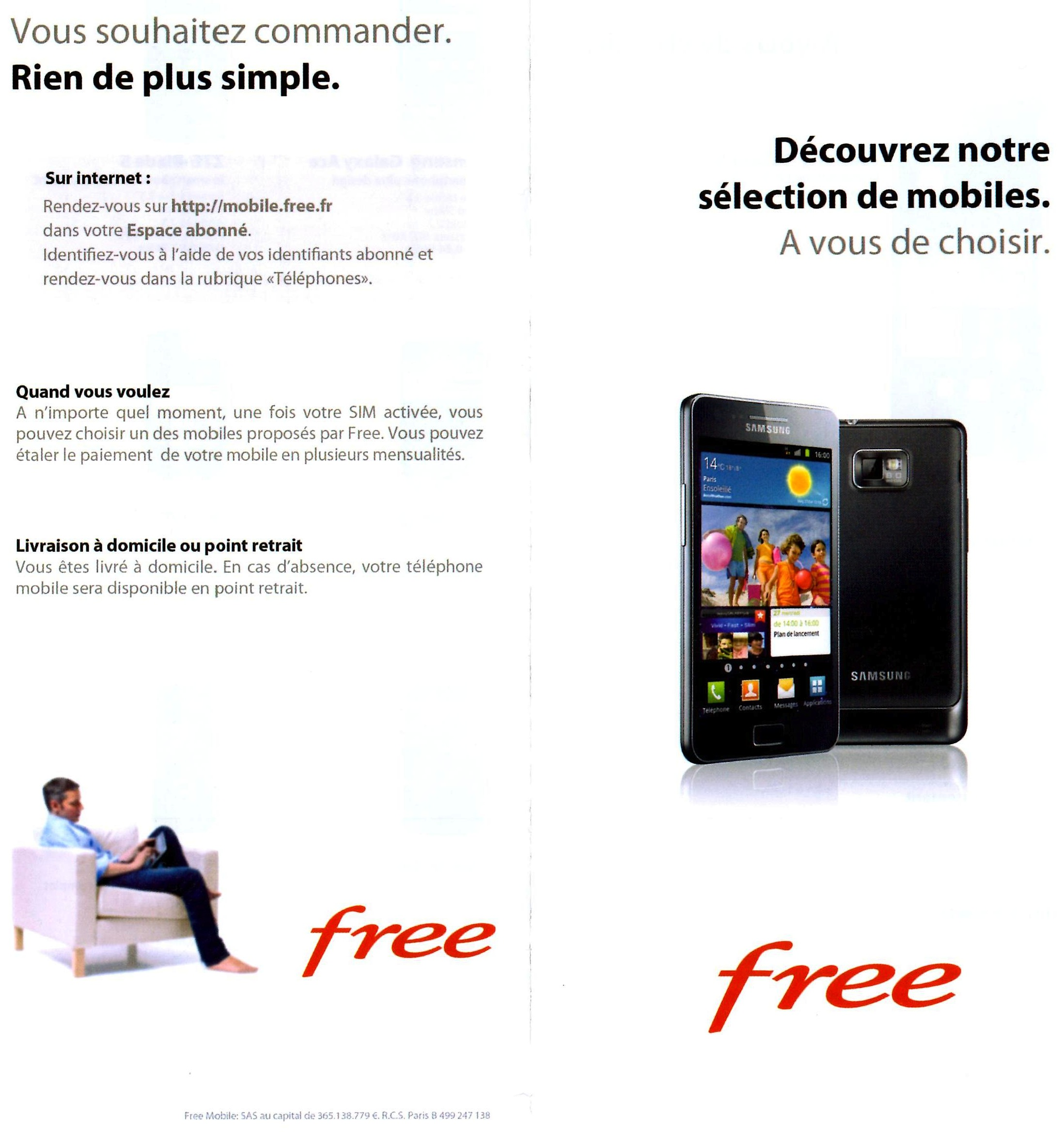 free mobile une brochure pour les mobiles jointe avec la carte sim. Black Bedroom Furniture Sets. Home Design Ideas
