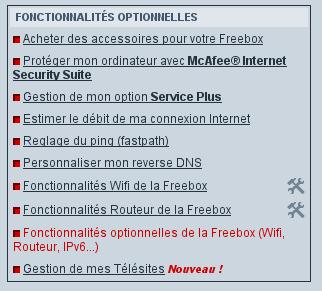 Fonctionnalités optionnelles Freebox