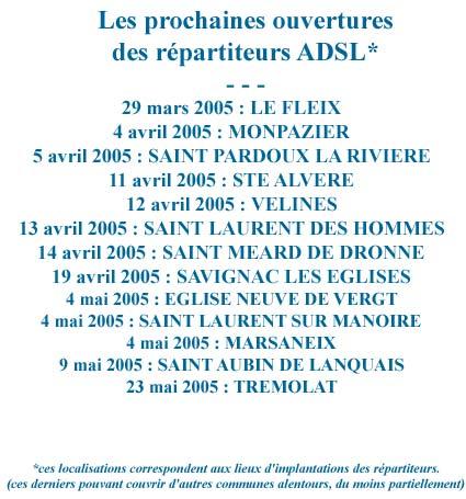 Ouvertures prochaines de l'ADSL