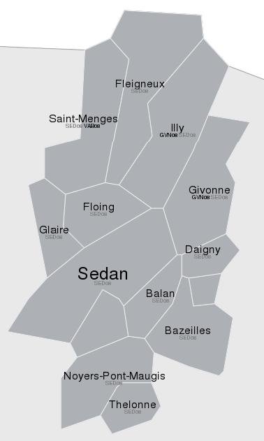 Communes dégroupées par NRA de Sedan