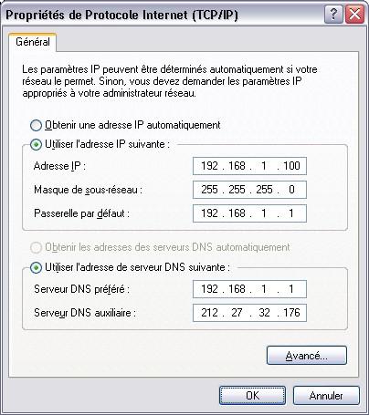 Carte réseau en IP Fixe