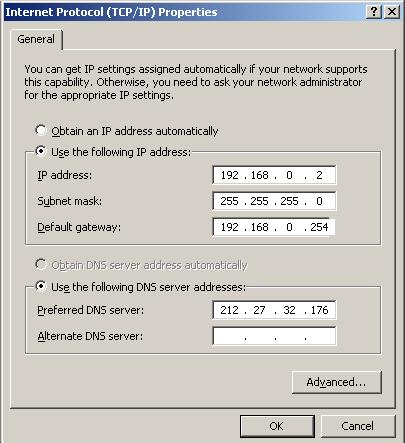 Adresse IP entrée en dur