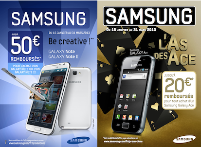 une offre de remboursement samsung galaxy note ii et galaxy ace. Black Bedroom Furniture Sets. Home Design Ideas