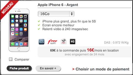 l 39 iphone 6 est disponible la location chez free mobile. Black Bedroom Furniture Sets. Home Design Ideas
