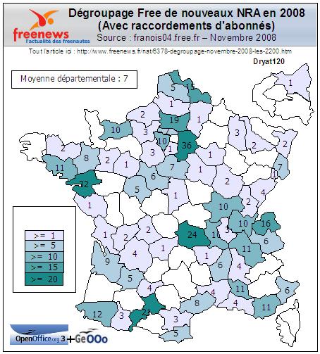 Dégroupage Free 2008, nov. 08, graphique département