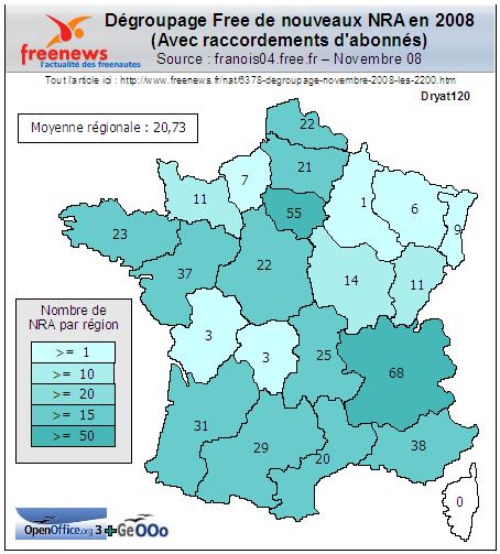 Dégroupage Free 2008, nov. 08, carte région