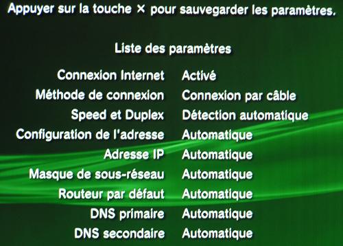 PS3 Panneau Configuration Ethernet