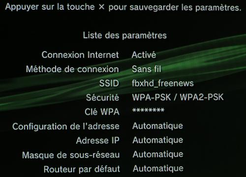 PS3 récapitulatif configuration wifi