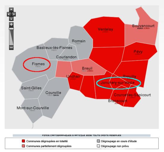 Carte dégroupage Fisme et Jonchery-sur-Vesle (51)