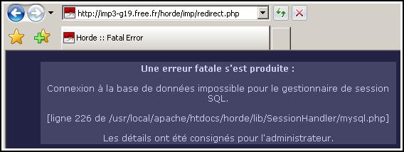 Erreur SQL sur le webmail