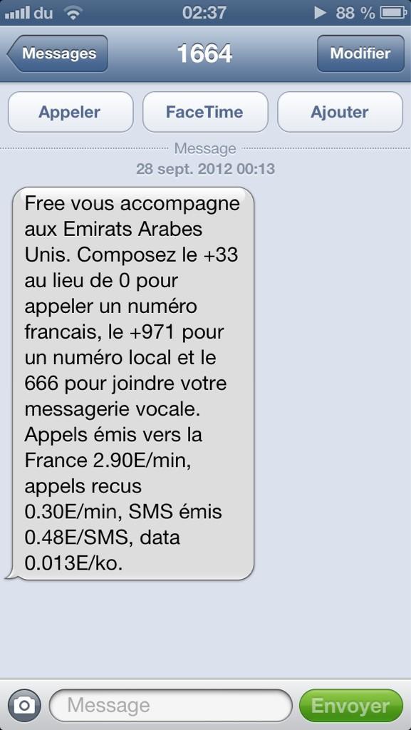 Free mobile vous pr vient d sormais lorsque vous changez de pays - Envoyer 100 sms d un coup ...