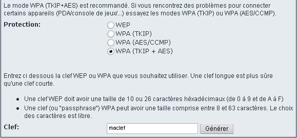 Configuration du WiFi