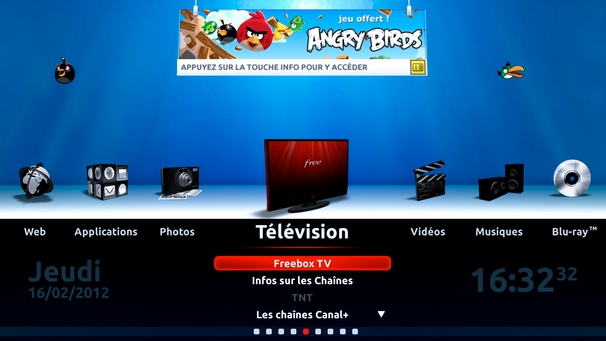 angry birds envahit le menu d 39 accueil de la freebox r volution. Black Bedroom Furniture Sets. Home Design Ideas
