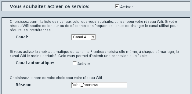 Interface Freebox wifi part 1