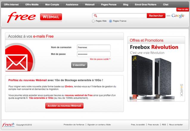 le webmail classique de free s 39 offre une nouvelle page d 39 accueil. Black Bedroom Furniture Sets. Home Design Ideas