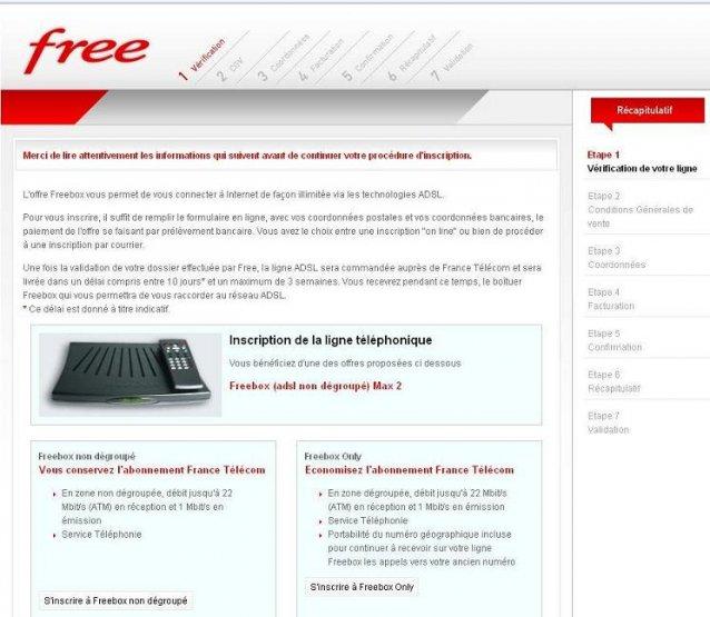 comment s inscrire chez free internet