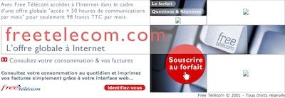 """""""L'offre globale à Internet"""", voilà comment Free décrivait alors son forfait Free Télécom 50 heures (2001)"""