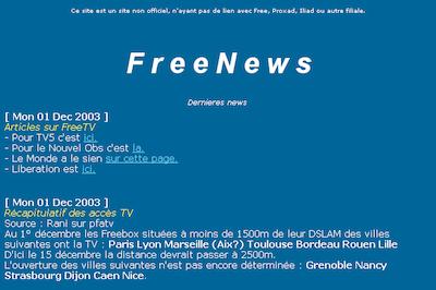 Le lancement de Freebox TV, sur un petit site qui débute également... (2003)
