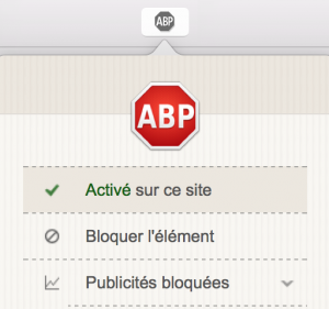 """Une fois sur Freenews, cliquez sur l'icône ABP, présente dans la barre d'outil en haut de votre navigateur. Cliquez ensuite sur l'option """"Activé sur ce site"""" qui se transformera en """"Désactivé sur ce site"""". Cela ajoutera Freenews à la liste de vos exceptions."""