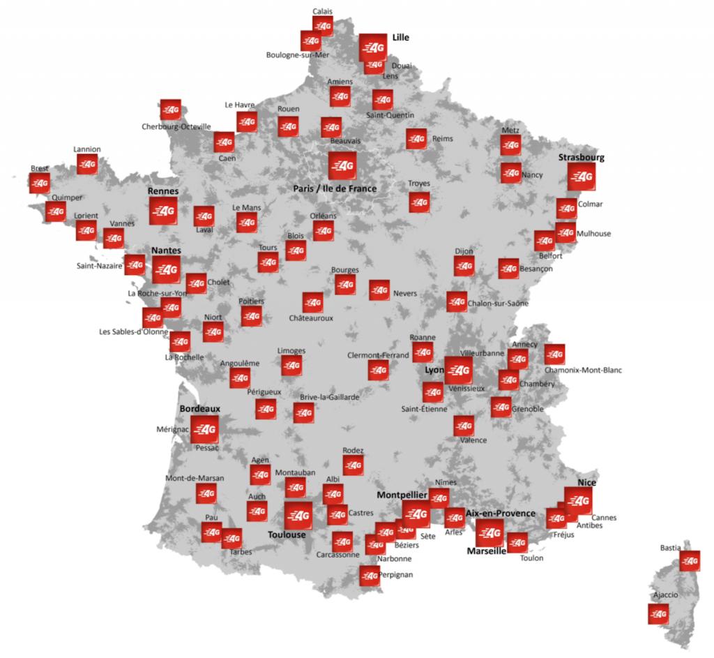 Couverture 4G SFR dans les grandes villes (plus de 50.000 habitants)