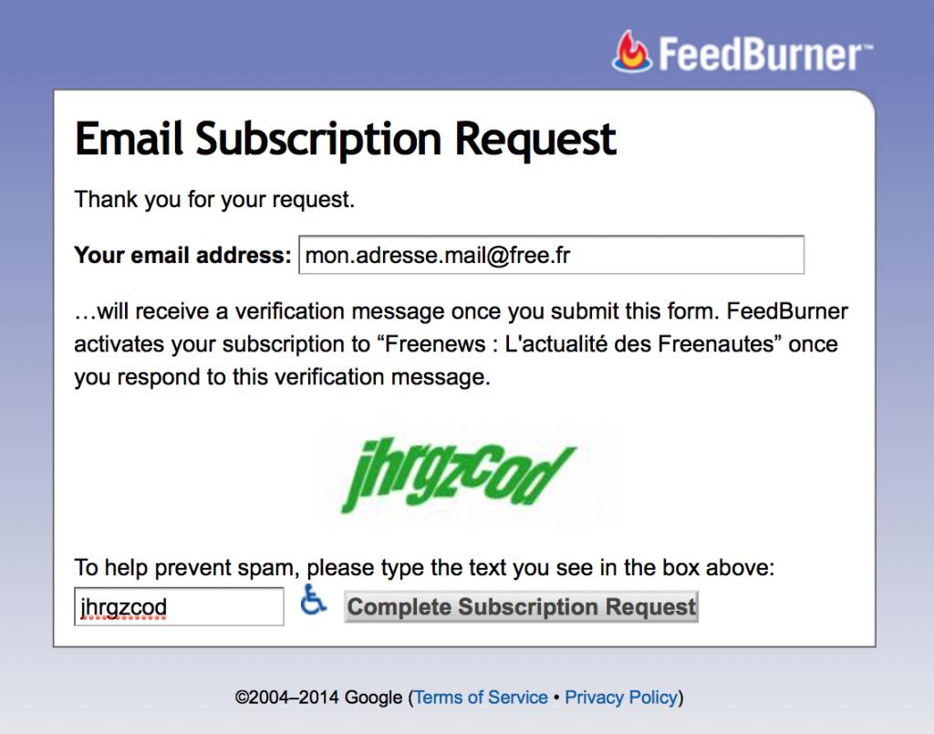 Inscription aux alertes mail