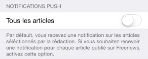Freenews iOS - réglage push
