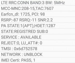 Un relevé témoignant de l'utilisation du LTE band 3, c'est-à-dire sur la fréquence 1800 MHz (source)
