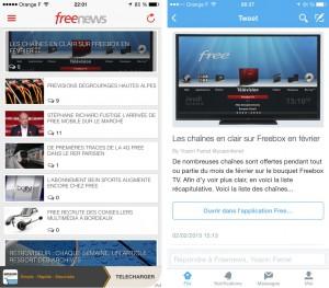 À g. : aperçu de Freenews 2.0.2 À d. : nouveaux liens vers l'app sur l'appli Twitter
