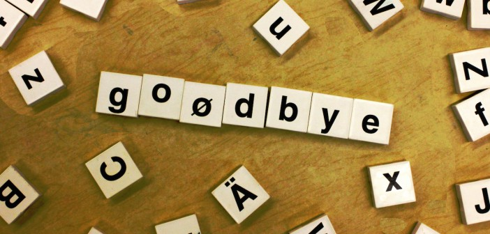 Goodbye au revoir départ fin