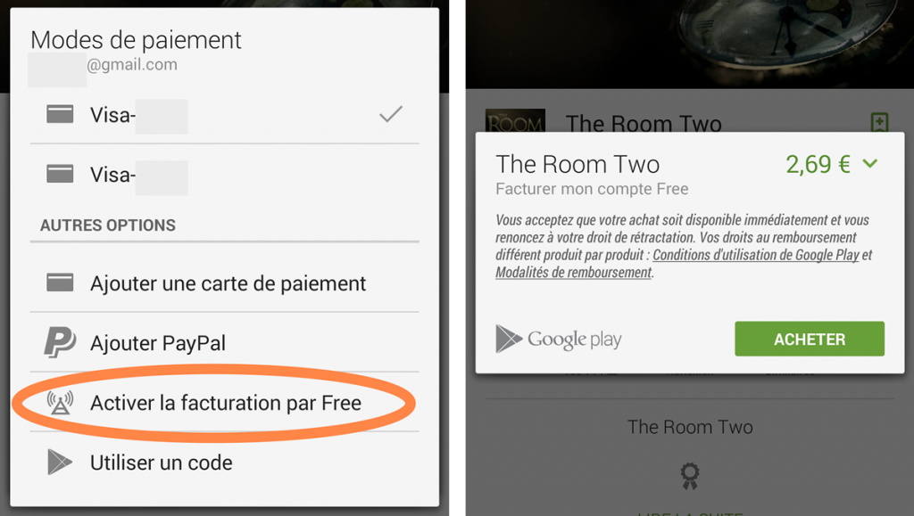 Paiement Free Mobile sur Play Store