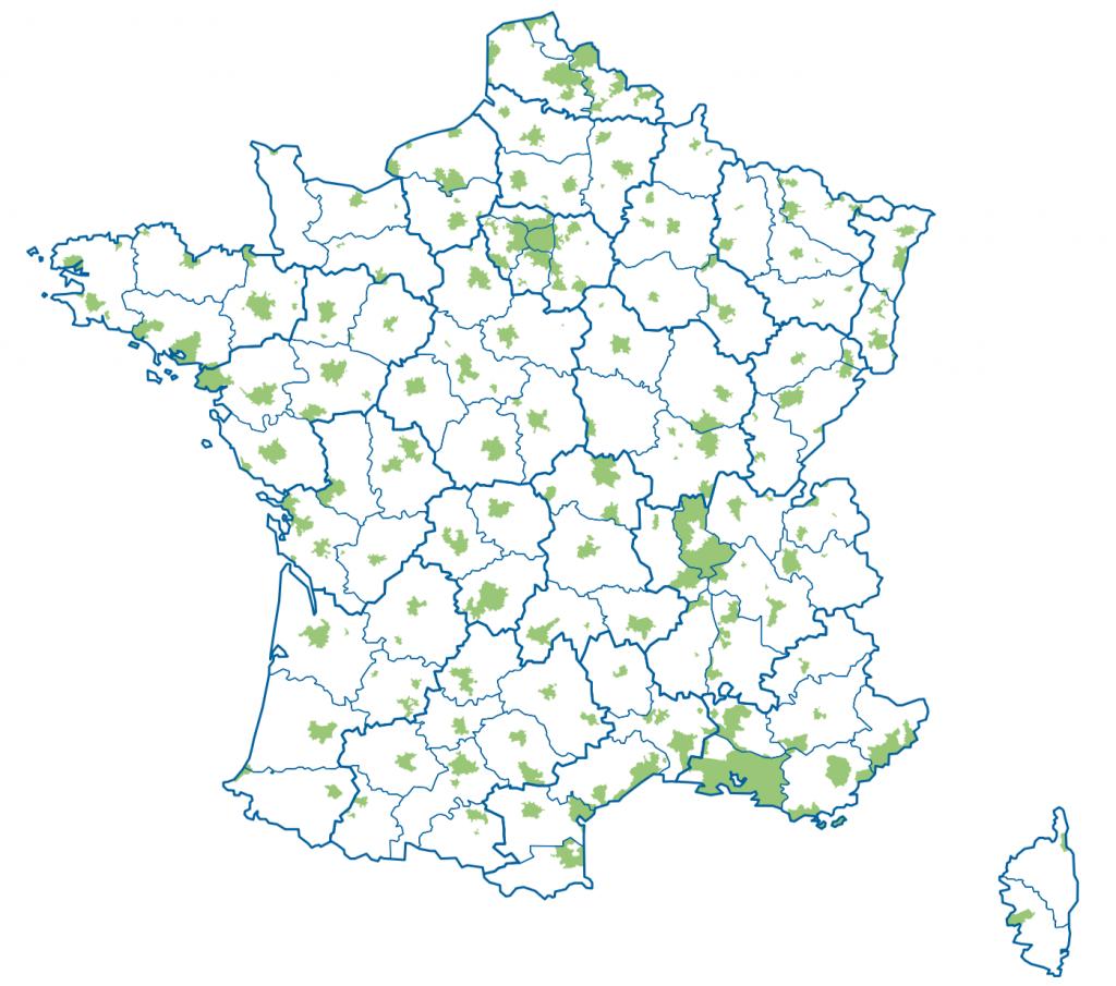 Carte des déploiements FTTH en France (2015)
