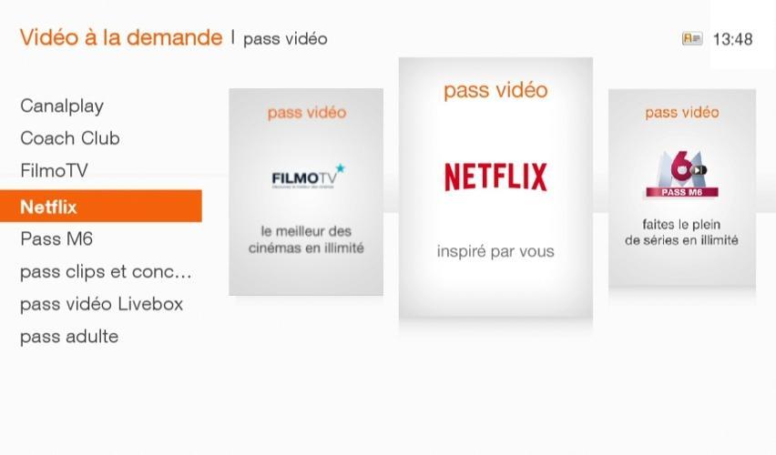 Netflix, bel et bien présent sur la Livebox d'Orange