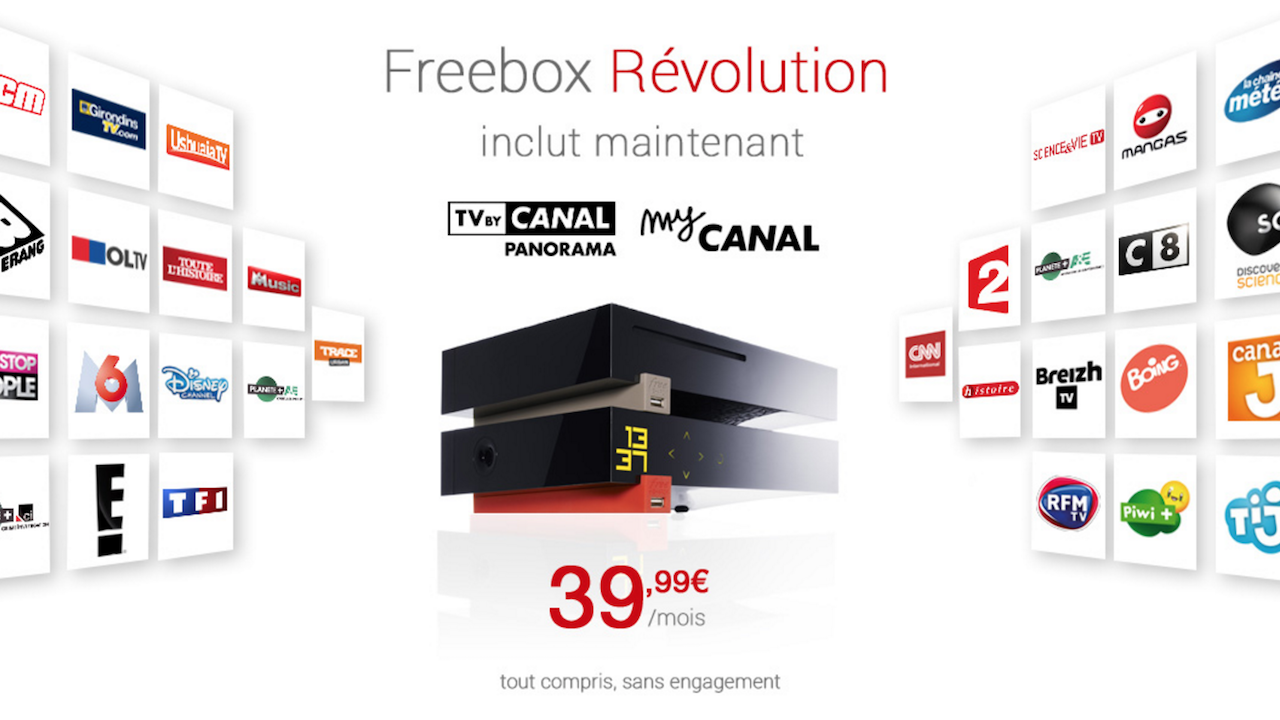 l 39 offre freebox r volution inclut canalsat pour 39 99 par mois. Black Bedroom Furniture Sets. Home Design Ideas