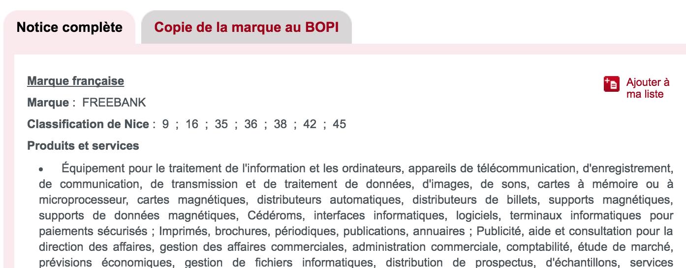 """Extrait de la notice INPI """"FreeBank"""""""