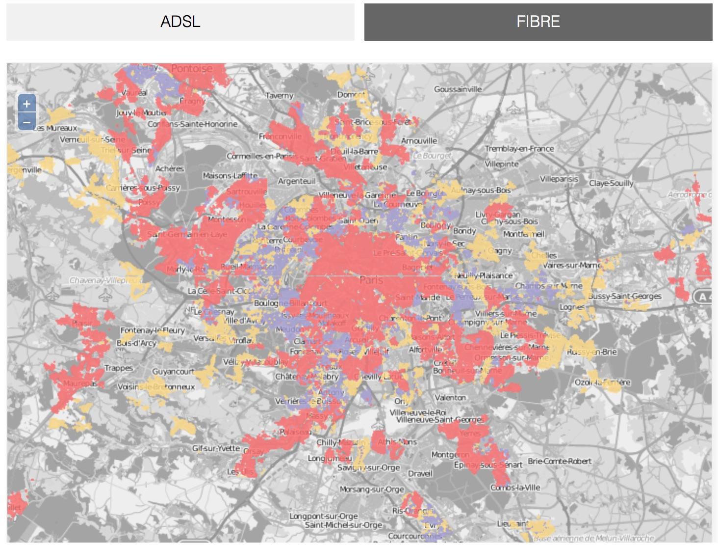 fibre optique free carte Free publie sa carte de couverture en fibre optique
