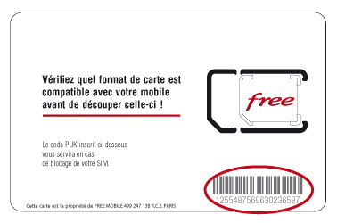 Code barre activation carte sim Freebox Mobile