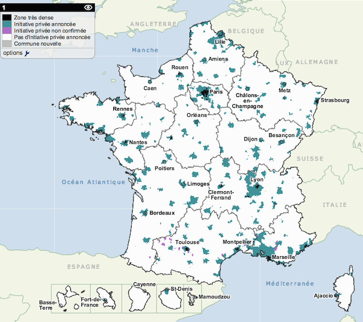 Carte des zones AMII en France