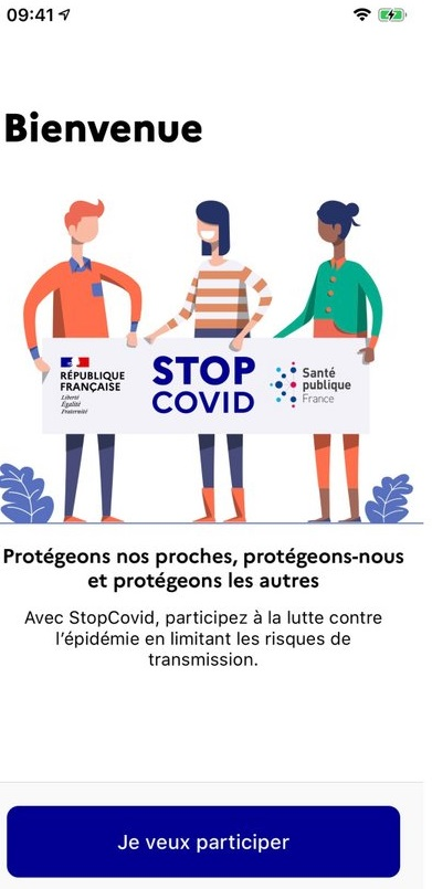 Ecran d'accueil application mobile StopCovid